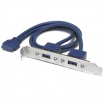 StarTech Accessory USB3SPLATE 2Port USB3.0 A Female/IDC Female Slot Plate Adapter Blue Retail